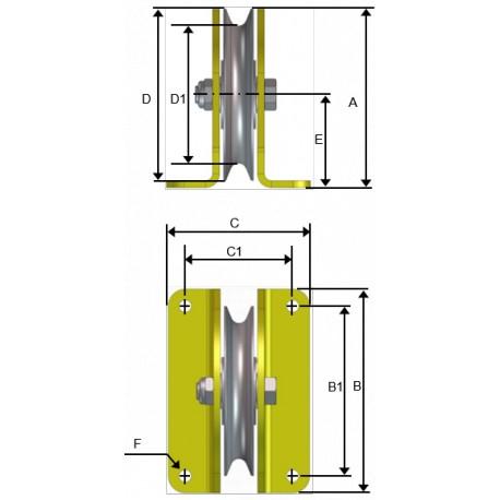 Poulie de levage ou de renvoi avec réa vertical